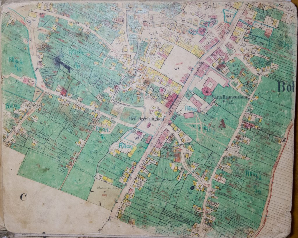 1878 Cadastral map of Bohorodchany, Ivano-Frankivsk region, Ukraine. Courtesy of Lviv Historical Archive.